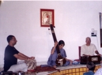 An informal Baithak at the Gurukul, Dehradun with guru ji supporting on... Harmonium, Sh. Rajesh Mishra on Tabla